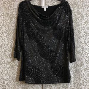 Black glitter, formal top